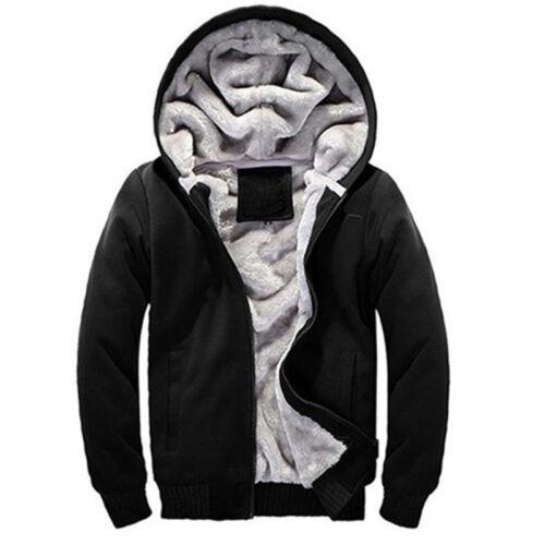 UK Men Fur Lined Winter Hoodie Jacket Thick Sherpa Fleece Hooded Sweater Coat