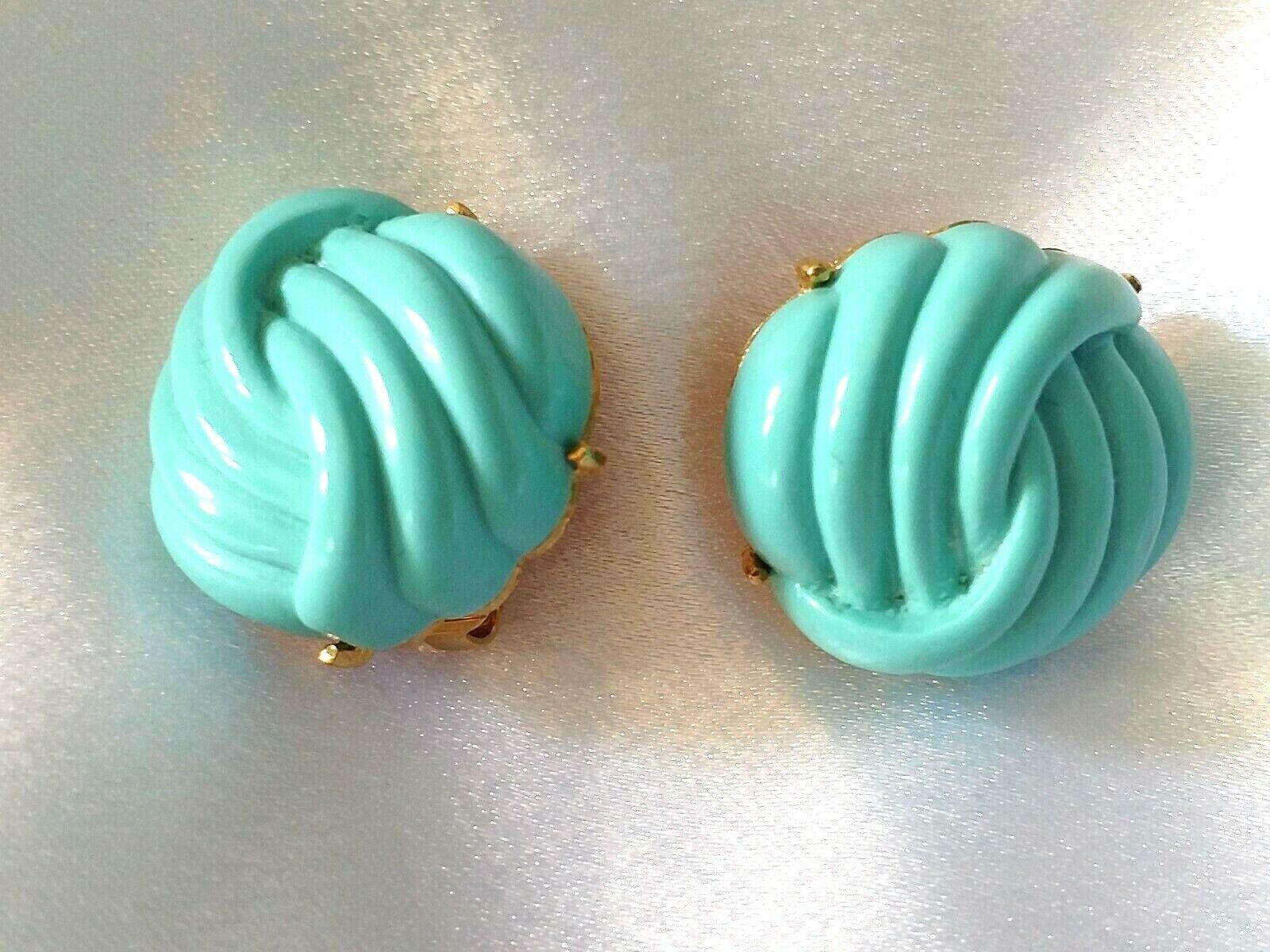 Vintage Lanvin Paris Clip Earrings Faux Turquoise… - image 1