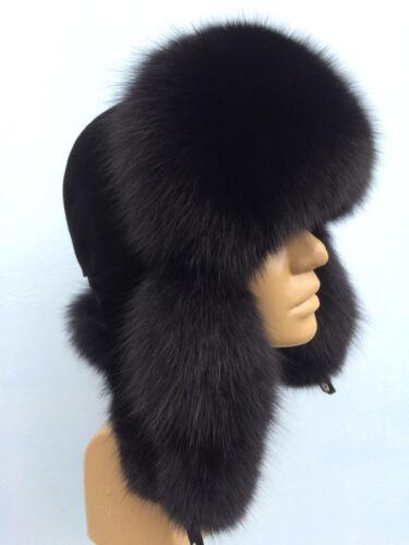 Black Saga Fox Fur Hat Suede Top Men/'s Hat