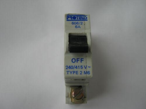 PROTEUS 606//2 6 AMP TYPE 2 M6 SINGLE POLE MCB CIRCUIT BREAKER.