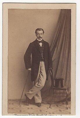 47 In Style; Fashionable Man Standing Holding A Cane Cdv,vintage Albumen,printing Albumen