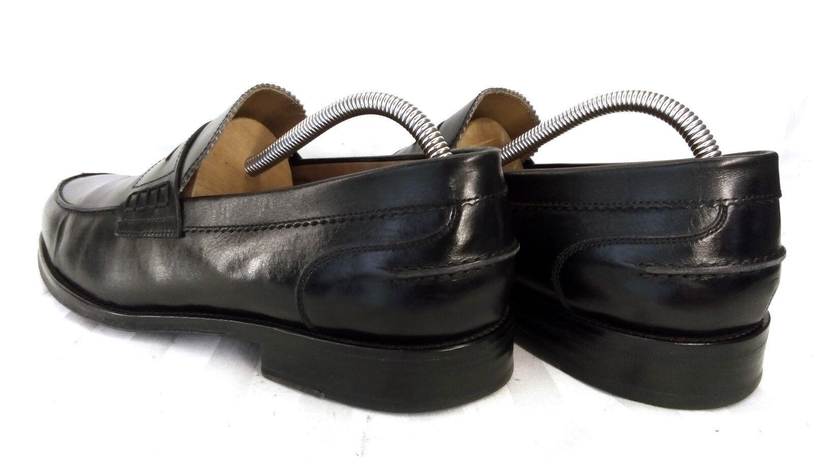 Emidio tucci noruegos mocasines Penny loafer mocasines noruegos cuero negro 44 - 44,5 mediante cosido e79725