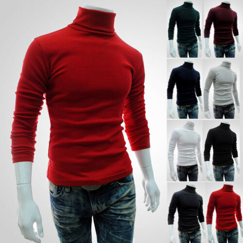 Men Roll Polo Neck Cotton Knitted Sweater Turtleneck Casual Pullover Jumper Tops