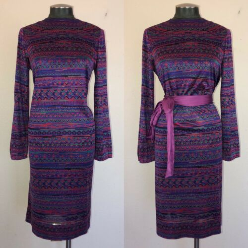 Vintage 70's Halston Purple Silk Shift Caftan Dres