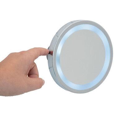 WENKO Badspiegel LED Leuchtspiegel Mosso mit 3 Saugnäpfen 3-fach Vergrößerung