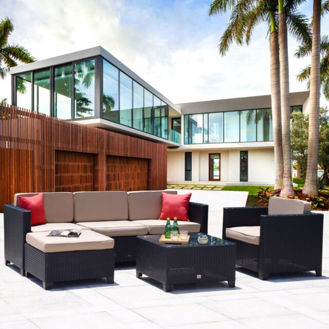 6PC Outdoor Patio Furniture Rattan Wicker Sofa Couch Garden Sectional Set  Black
