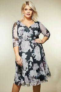 Modestil von 2019 beispiellos am besten bewerteten neuesten Details zu Kleid Gr.50+52 Grau Festlich Knielang Cocktailkleid Wickelkleid  Abendkleid Blume
