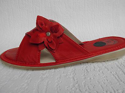 Pantolette - Hausschuhe Gr.36,5 Echt LEDER Rot *Komfortweite* (PL.25-4-5-24)