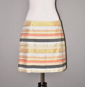 J-CREW-98-Multi-Color-Metallic-Stripe-Mini-Skirt-Size-6