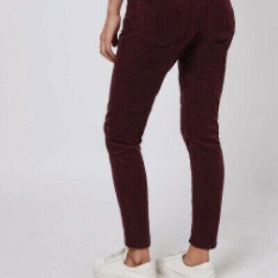 first look meticulous dyeing processes in stock Topshop Corduroy Jamie High Waist Ankle Grazer Jeans - Burgundy W28 L30 |  eBay