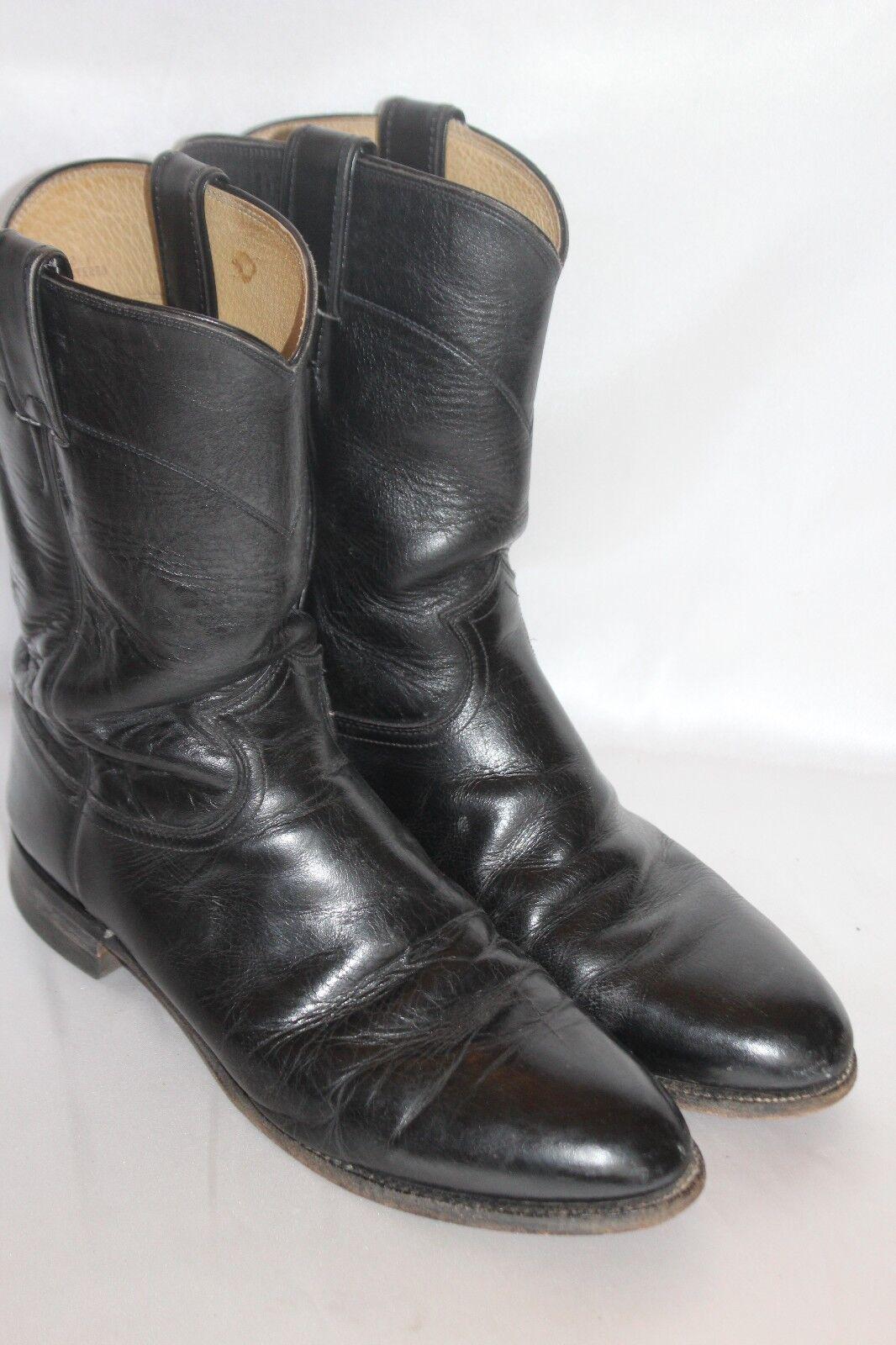 Mens JUSTIN Black Leather ROPER Vintage Western Low Heel Riding Boots Sz 9.5 D