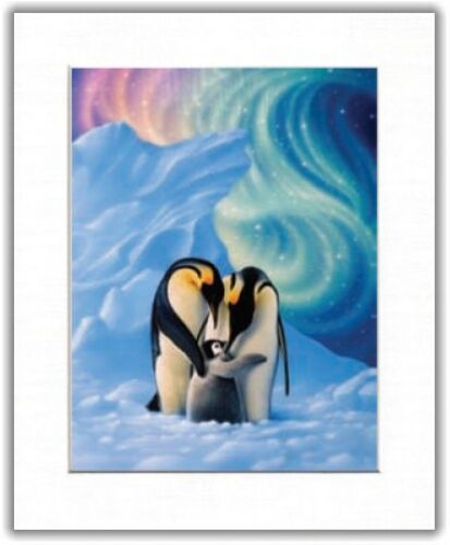 Beautiful Matted Penguins Foil Art Print~Affordable Animal Art~8x10