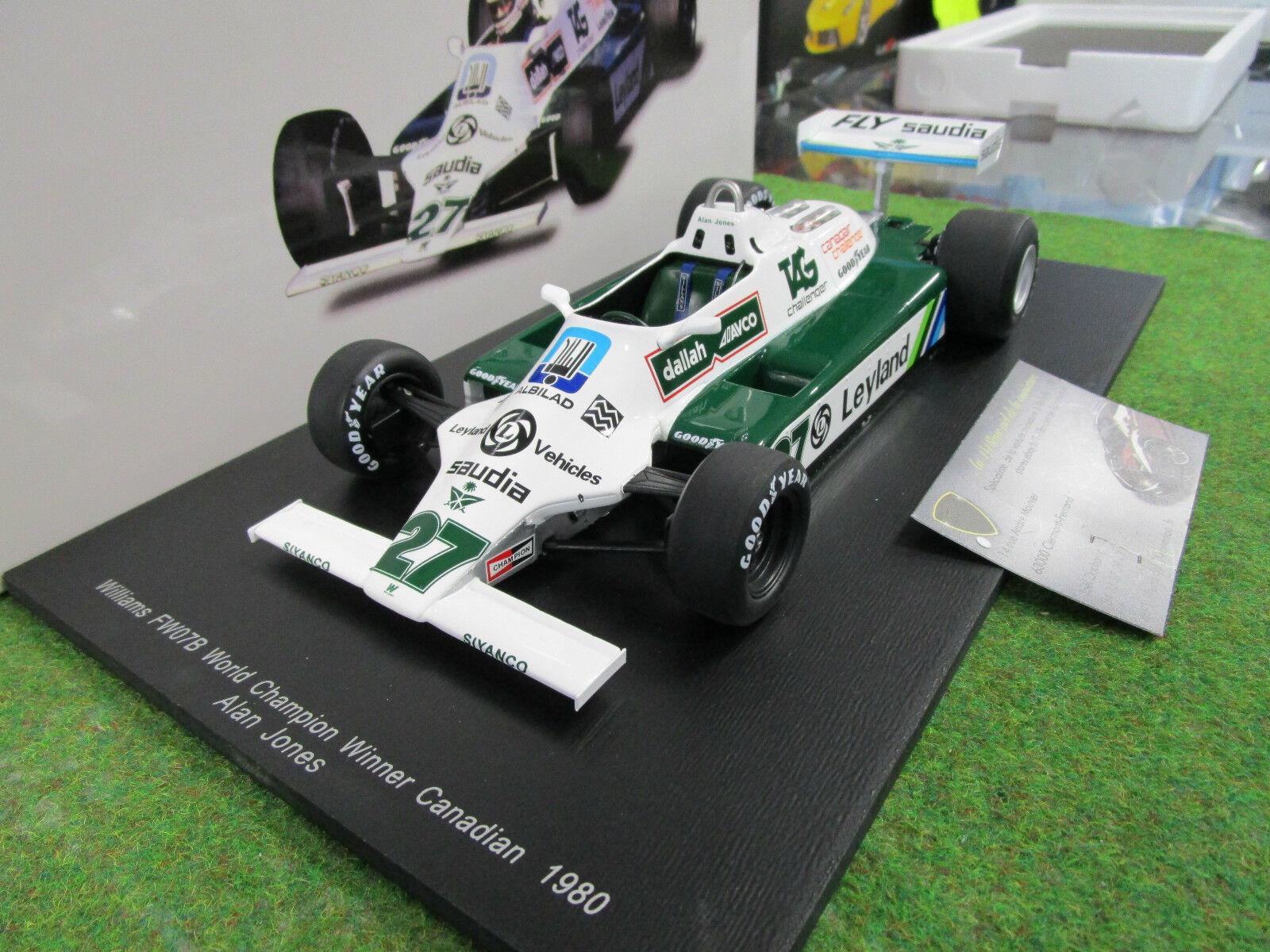 marcas de moda F1 WILLIAMS FW07B   27 27 27 World Champion 1980 A. JONES 1 18 SPARK 18S117 formule 1  muchas sorpresas