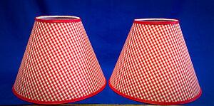 Set of 2 Red White Gingham Check Checks Handmade Lamp Shade Lampshade