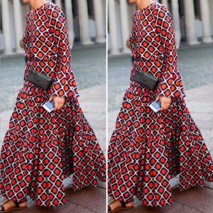 Mode-Femme-Casual-Manche-Longue-Col-Rond-Impression-Geometrique-Robe-Dresse-Plus