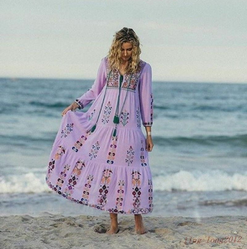 Women Boho Summer Floral Embroidered long Maxi Beach Pattern Casual Dress SZ