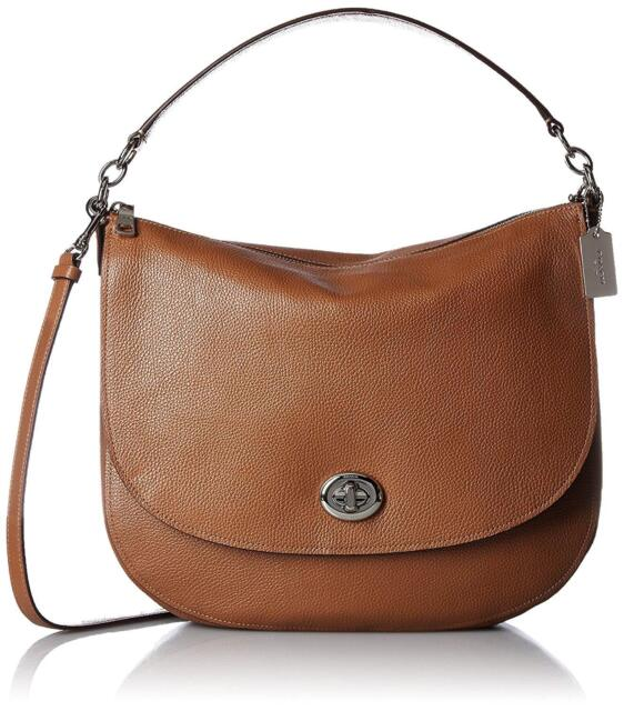 coach 36762 turnlock saddle pebble leather shoulder hobo bag ebay rh ebay com