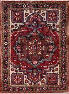 New-Geometric-Heriz-Serapi-Area-Rug-Wool-Hand-Knotted-Traditional-Carpet-5-039-x7-039