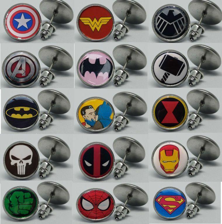Ear Studs Superman Superhero Logo Anodized Colour Steel Ear Stud Pin 20g