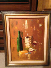 Wine Bottle, Candle Cheese Painting