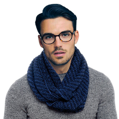 Navy Mens Boys Thick Cable Knit Winter Snood Scarf Neckwarmer