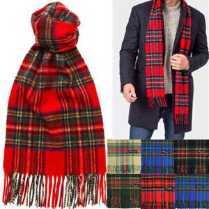 Mens 100% CASHMERE Made In SCOTLAND Royal Stewart Check Plaid Tartan Long Scarf
