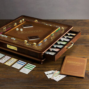 Image Is Loading Monopoly Luxury Collectors Edition Wood Cabinet Classic  Board