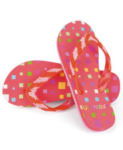 Girls Block Flip Flops Urban Beach Branded Childrens Beach Shoes Sandals Square