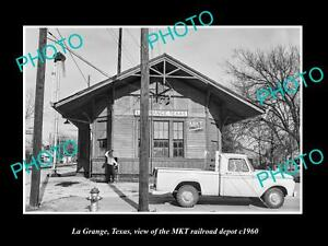OLD-LARGE-HISTORIC-PHOTO-OF-LA-GRANGE-TEXAS-THE-MKT-RAILROAD-DEPOT-STATION-1960