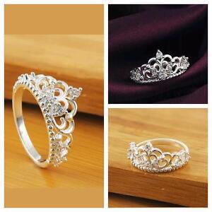 f54e99e8274d Image is loading Fashion-Women-Princess-Queen-Crown-Wedding-Ring-Silver-