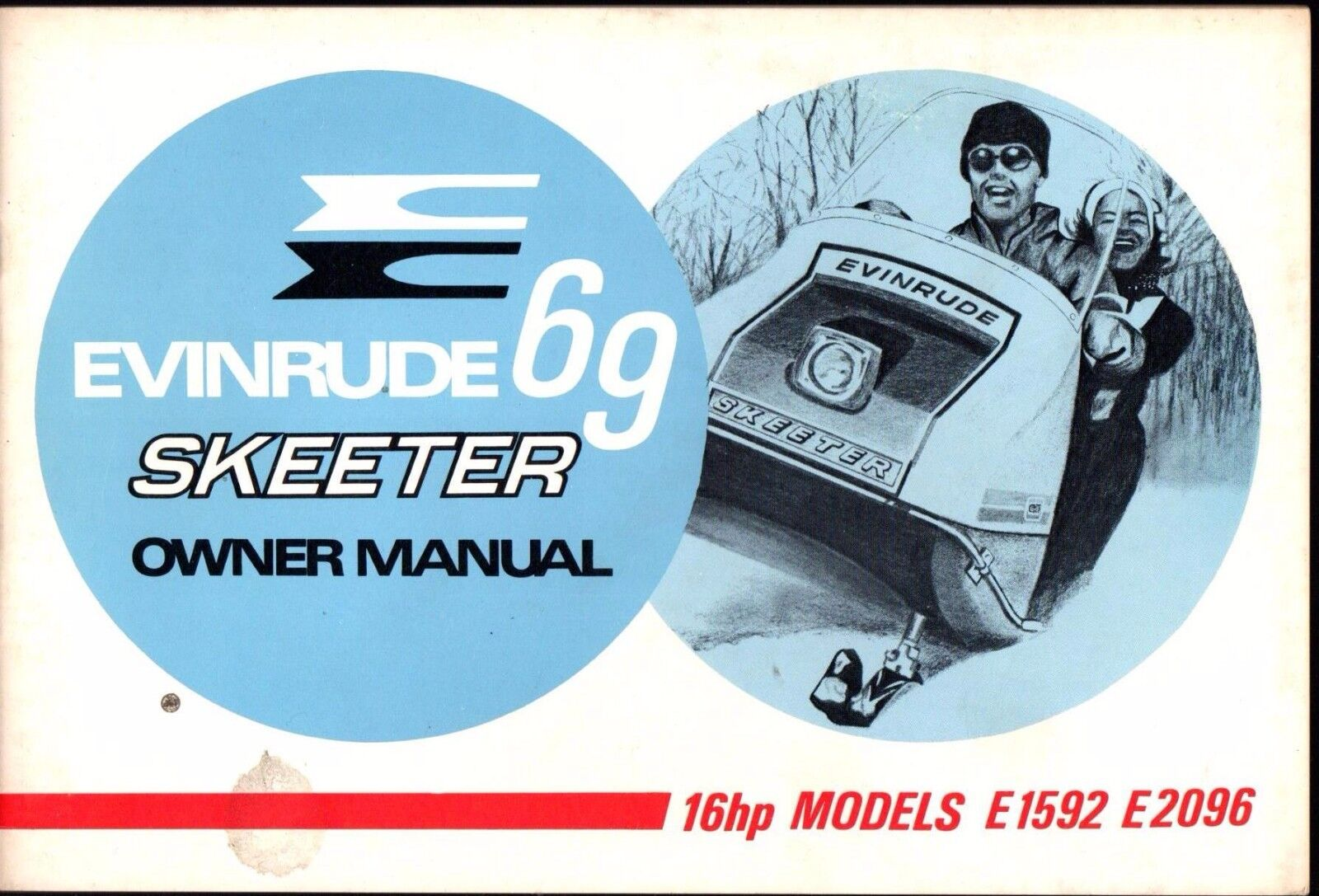 1969 EVINRUDE SKEETER 16HP MODELS E1592 & E2096 SNOWMOBILE OWNERS MANUAL (801)