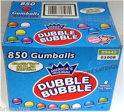 "850 ct. 1"" Dubble Bubble Gumballs Bulk Candy Vending"