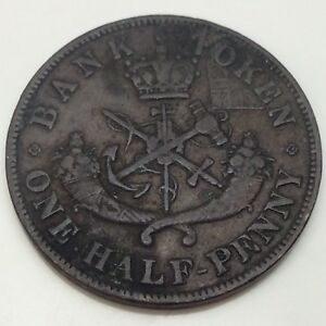 1850-Bank-Upper-Canada-One-1-2-Half-Penny-Circulated-Canadian-Token-D850