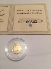 World Smallest Gold Coin Panda Bear Liberia 10 Dollars Coin