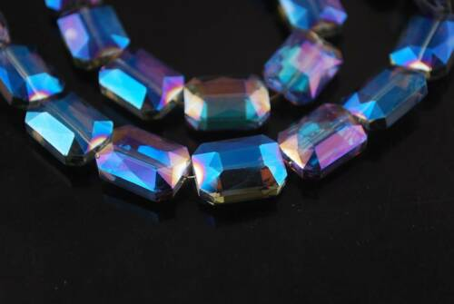 10pcs 12x9mm Square Glass Crystal Faceted Loose Spacer Beads Jewelry Findings