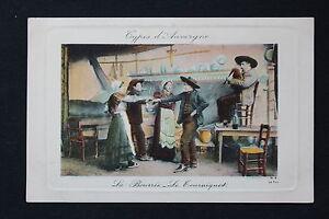 Postcard-Antique-CPA-Types-D-039-Auvergne-La-Bourree-The-Tourniquet