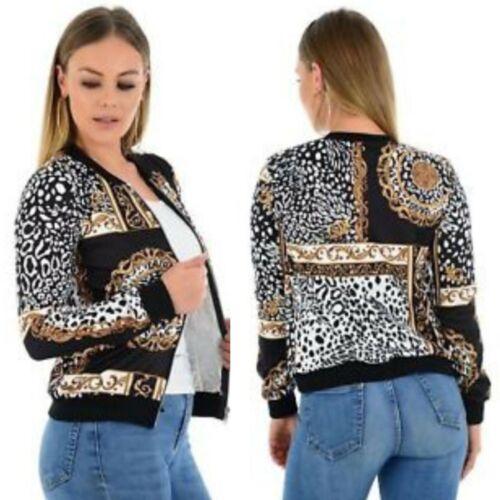 Ladies Baroque Chain Leopard Print  Zipper Casual Biker Bomber Jacket Top