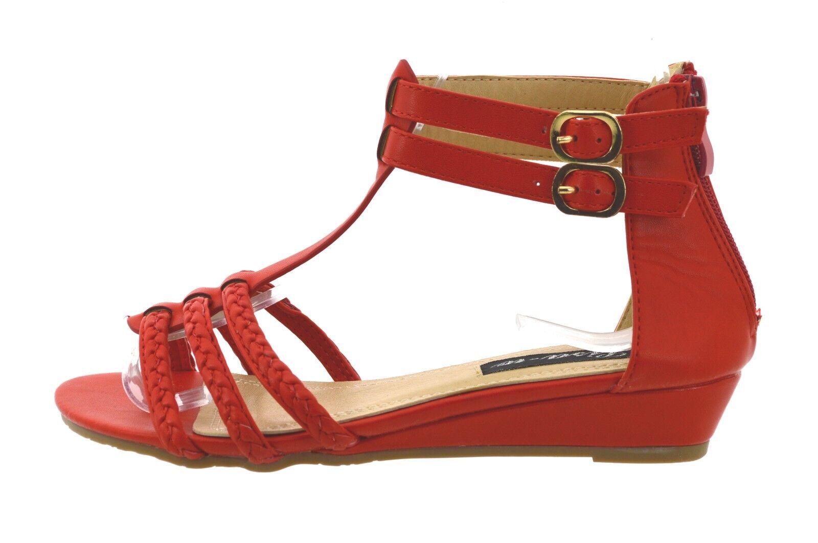 39d3879eccd25b scarpe donna estive sandali aperti mare infradito rosse con fibbie e tacco  basso