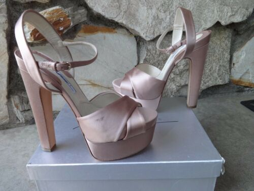 322fd954e32 2 of 12 Brian Atwood Manhattan Nude Satin Skyhigh Open Toe Platform Sandals  EU 41