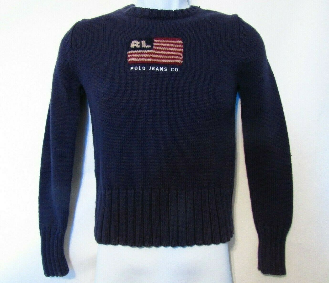 Ralph Lauren Sweater Knit Navy Size S Vintage Flag RL Logo Rare Polo Jeans Co.
