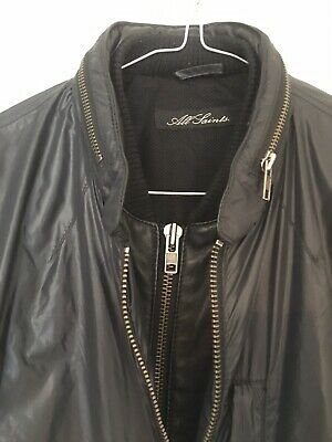 ALLSAINTS black Nylon leather bomber METH jacket size S Mint Condition | eBay