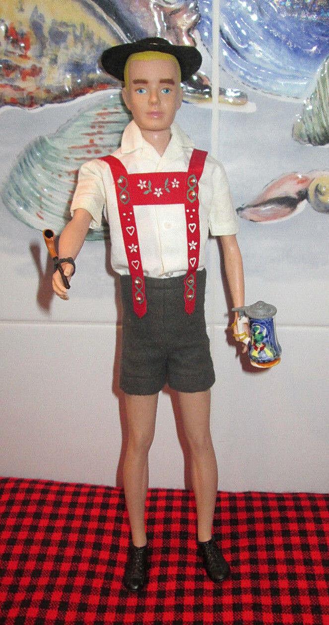 1964 Japón Vintage. Barbie  Ken en Suiza   Sombrero-Tubo + Stein  1961 Ken Muñeca