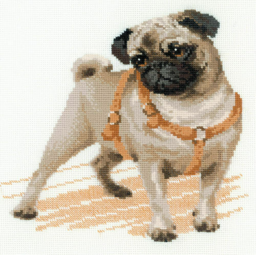 Riolis Pug Dog Counted Cross Stitch Kit 14 Count Aida