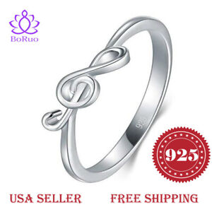 BORUO-925-Sterling-Silver-Ring-High-Polish-Music-Note-Wedding-Band-Ring