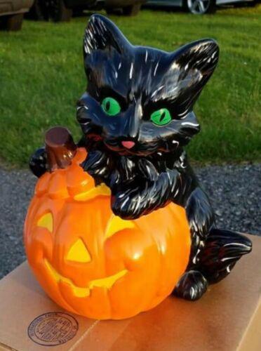 Big Cat w// Pumpkin Halloween Cut Out w// Light Ready to Paint Unpainted Bisque