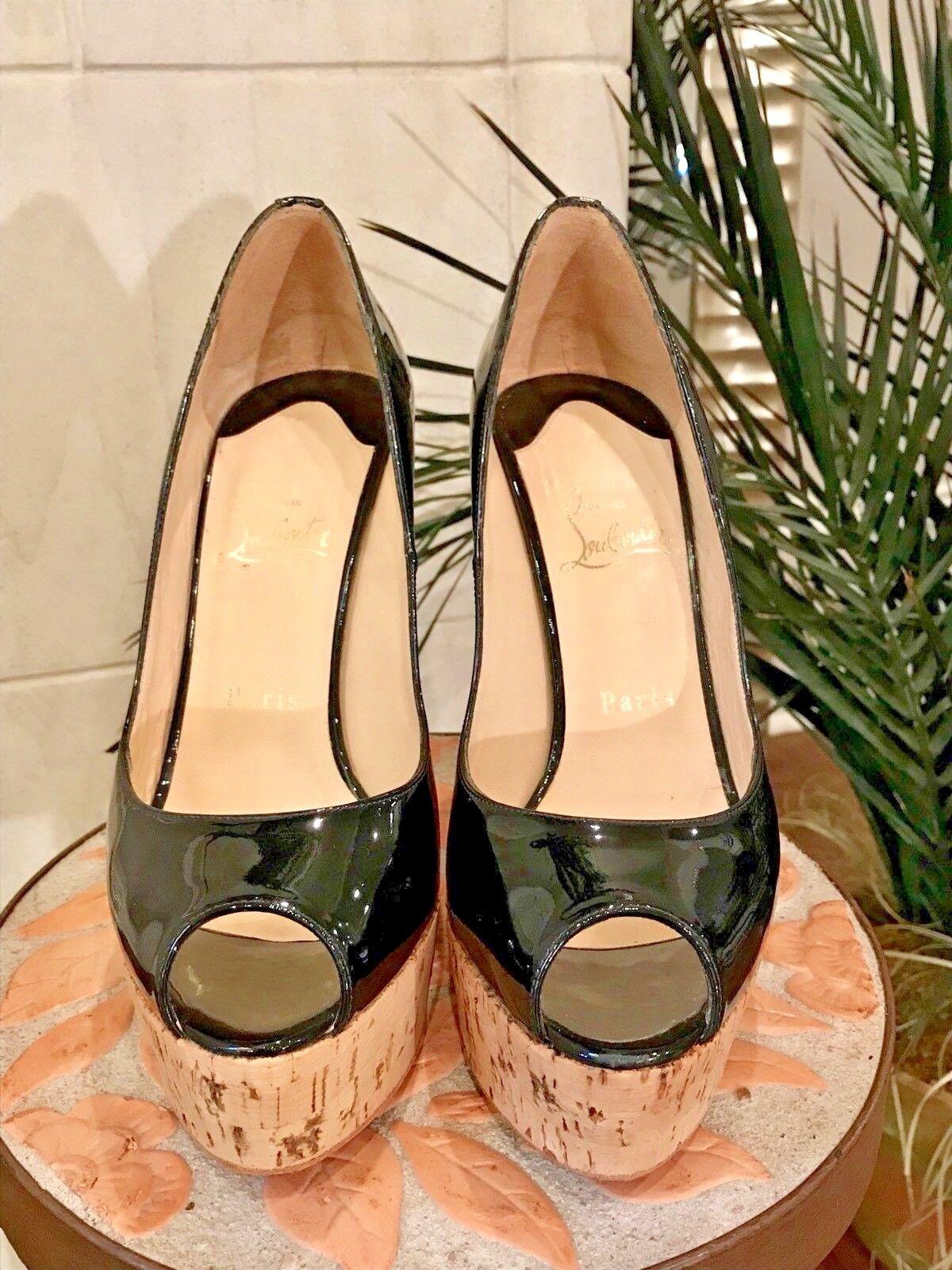 Christian Louboutin Womens Une Plume 140 Black Black Black Patent Leather Sandals $625 - 39 d51c44