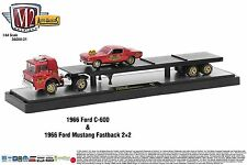 1:64 M2 Machines AUTO-HAULERS R21 = 1966 Ford C-600 Semi Flatbed w/1966 Mustang