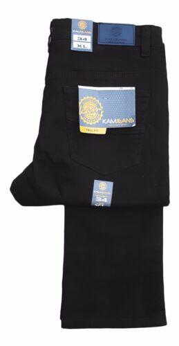 Black Denim Mens Kam Tall X-Long 36 Inch Leg Slim Fit Stretch Jeans Alba
