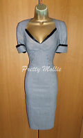 Classic Karen Millen Tailored Check Grey Pencil Dress UK 10 38 Work Office