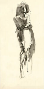 Peter Collins ARCA - c.1970s India Ink, Expressionist Full Length Portrait